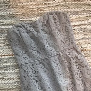 J Crew Silvery Gray Lace Strapless Maxi